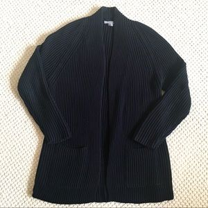 Vince Navy Blue Ribbed Car Coat/Cardigan - Large